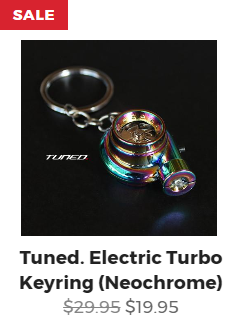 Tuned. Electric Turbo Keyring - Neochrome
